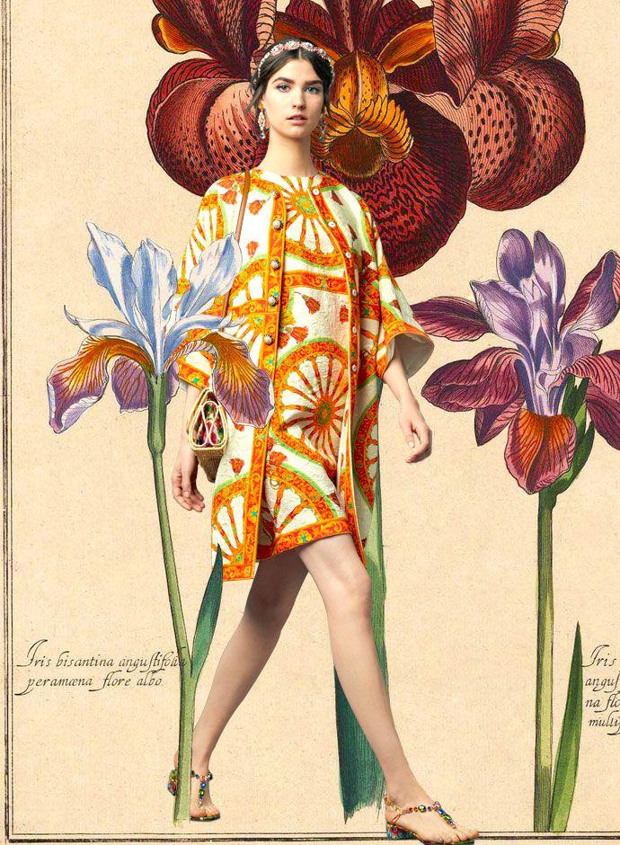 Посмотрите на День DolceGabbana Весна Лето 2014 Женская Сицилийский Корзина колеса печати платье и пальто