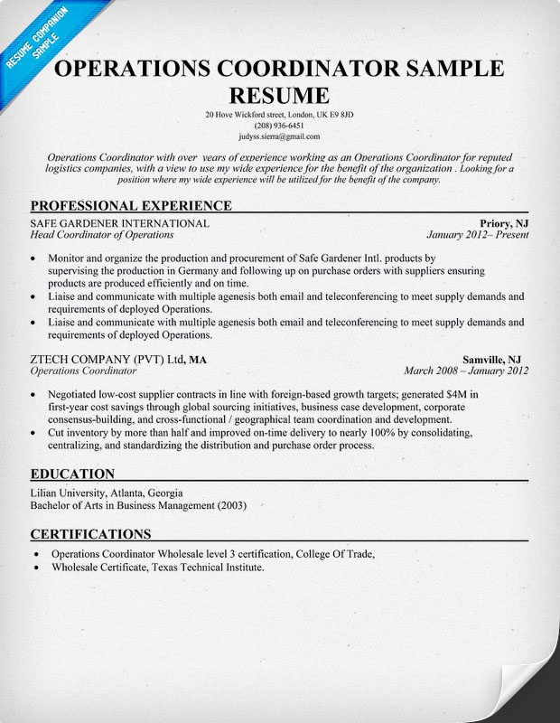 operations coordinator resume tips for resume