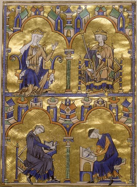 Blanche of Castile and King Louis IX of France; Author Dictating to a Scribe,  Moralized Bible.  France, probably Paris, ca. 1230