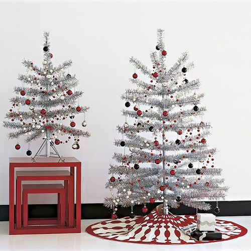 Silver christmas trees trees pinterest - Christmas tree silver and red ...