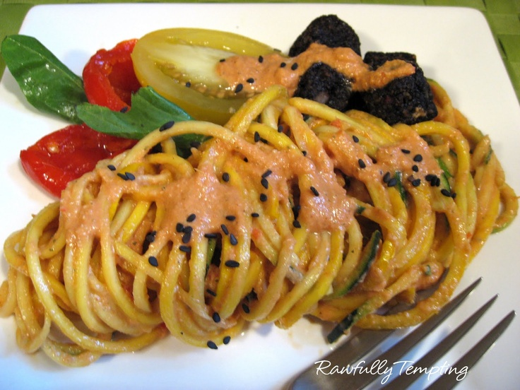 Rawfully Tempting™: Spicy Red Tahini Sauce on Zucchini Noodles