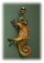 chameleon candle-holder made from paper mache