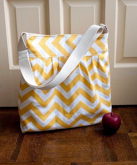chevron diaper bag in yellow canvas // by olivetreetextiles, $55.00