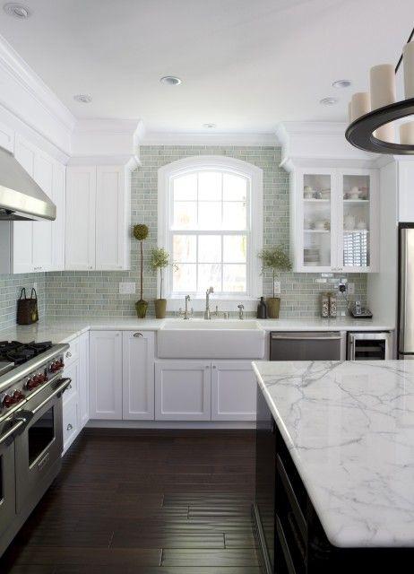 dreamy white kitchen + dark wood floor