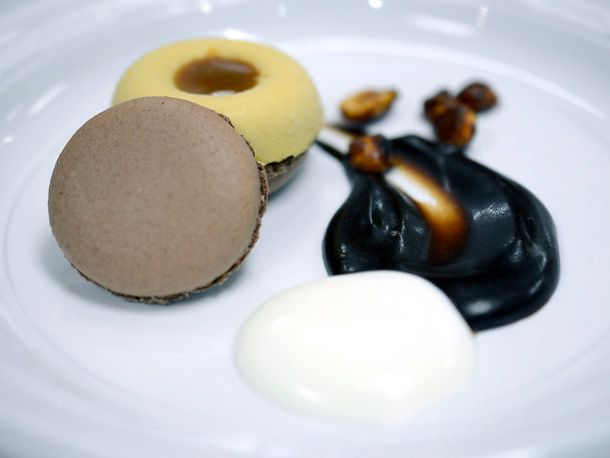 Peanut butter semifreddo with chocolate macaron, salted caramel, and ...