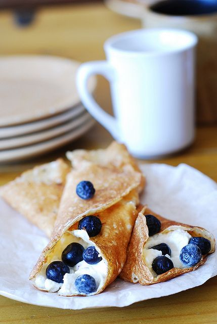 Crepes with ricotta cheese and blueberries by JuliasAlbum.com, via ...