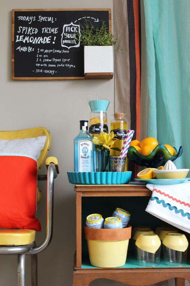 Blogger Challenge: Turn a Side Table Into a Faux Bar Cart (http://blog.hgtv.com/design/2014/03/20/blogger-challenge-turn-a-side-table-into-a-faux-bar-cart/?soc=pinterest)