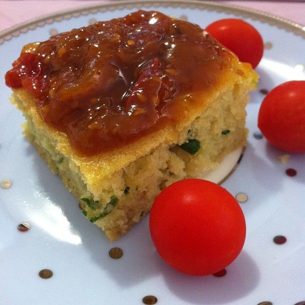 Zucchini cheddar bread topped with mums Tomato Relish