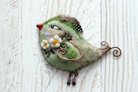 Kitty brooch felt cat pin brooch fun cute autumnal by FeltPetsShop