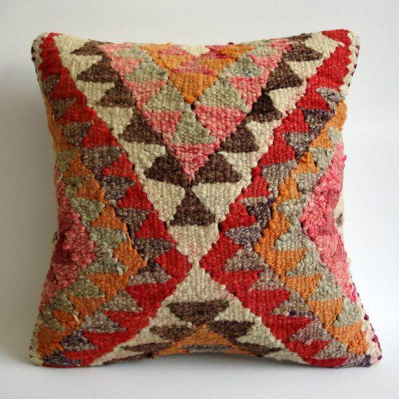 Turkish Kilim Throw Pillows : Sukan / Hand Woven Vintage Turkish Kilim Pillow Cover, Decorative Pil?