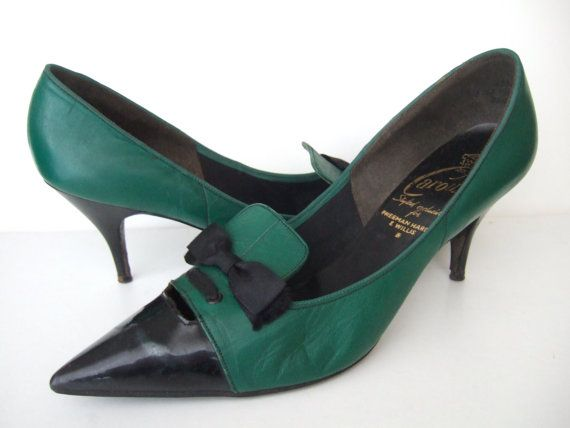 Vintage 1960s shoes / green leather winklepickers Sz 7 40 9 by