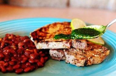 Cuban Pork Chops with Bush's Black Bean Fiesta Grillin' Beans Recipes
