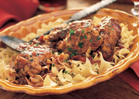 Chianti-Braised Stuffed Chicken Thighs on Egg Noodles | Recipe