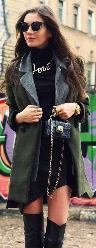 Winter  Coat & Black Mini Dress