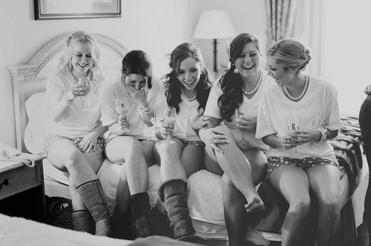 A Winter wedding in Watertown, New York - The bridesmaids in pearls & Uggs