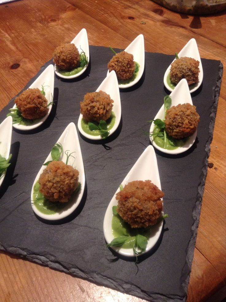 Lamb bonbons with pea and mint purée | Food by sojo catering | Pinter ...