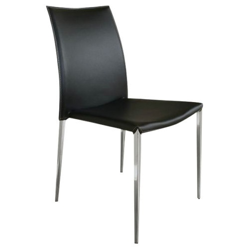 black leather stackable dining room kitchen chair ebay