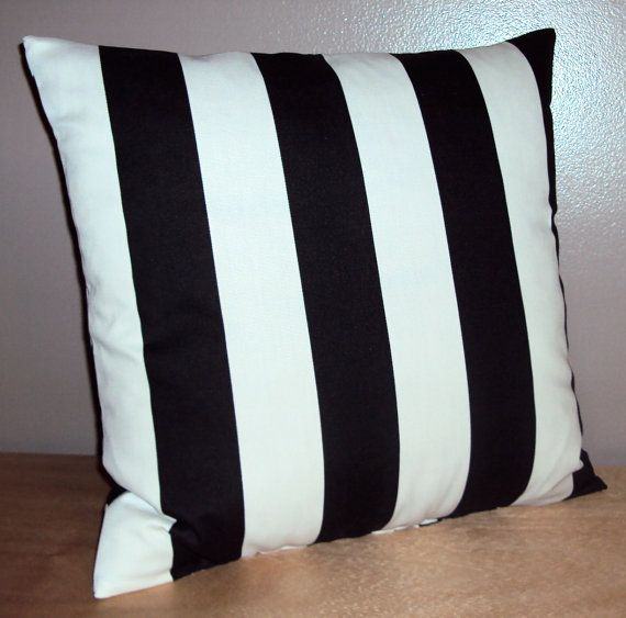 Black and White Indoor Outdoor Stripe Pillow Cover In 3 Sizes