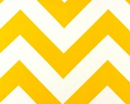 """Large yellow and white chevron print fabric. this zig zag design features over 2"""" wide stripes on a 100% cotton cloth with a slub look to it. great for window treatments, pillows, bedding or make into a table skirt."""