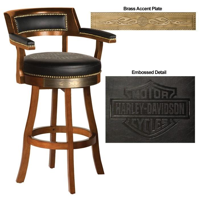 Harley Davidson Bar & Shield Flames Barstool w Backrest
