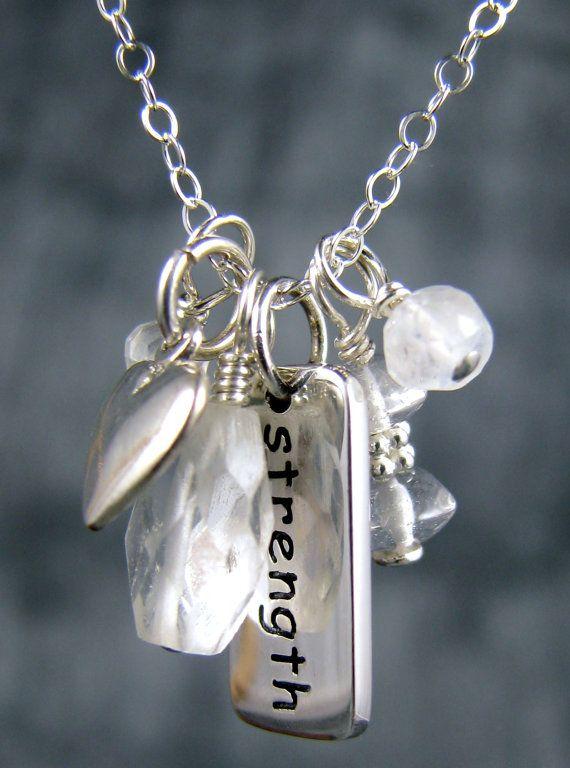 Survivor Jewelry, Strength Charm Necklace, Chakra Jewelry, Healing Crystal Quartz