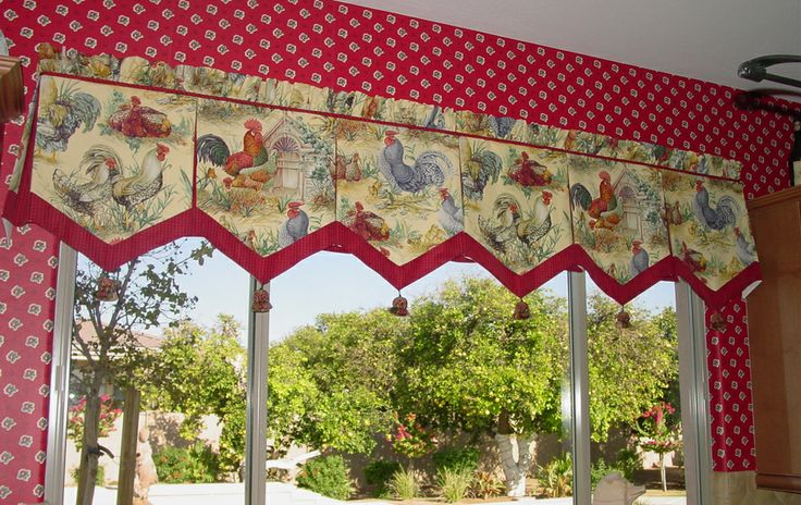 French country rooster kitchen curtains whitewash kitchen cabinet pinterest - French country kitchen valances ...