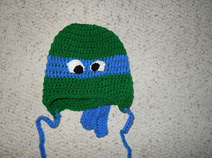 Crochet Pattern For A Turtle Hat : Crochet Teenage Mutants Ninja Turtle Hat Dark Green ...