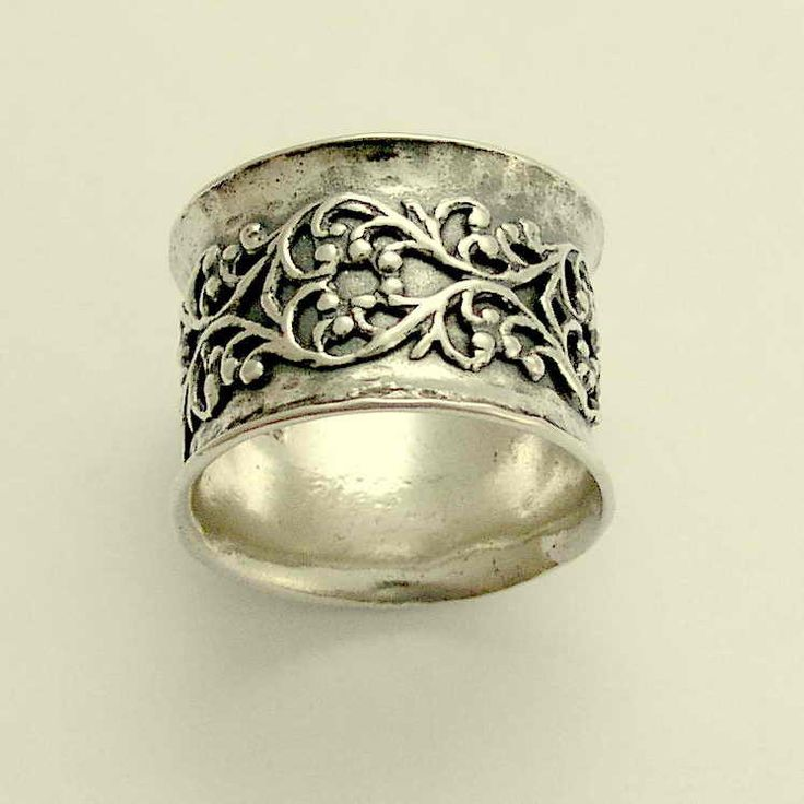 wide sterling silver wedding band with filigree design misty 142