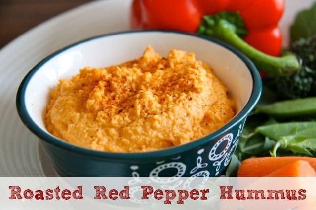 Roasted Red Pepper Hummus Recipe :: Five Little Homesteaders