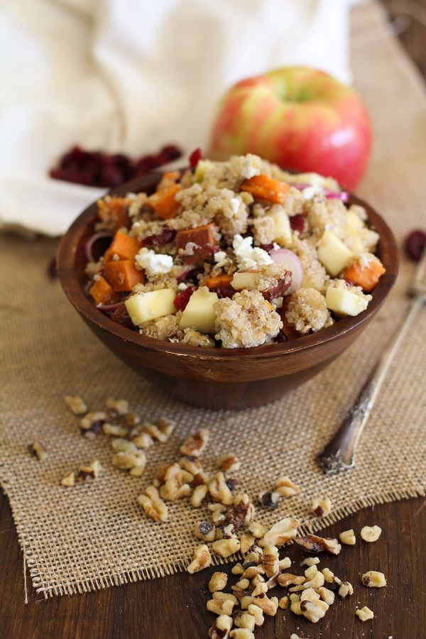 Roasted Sweet Potato Quinoa Salad with apple, cranberries, goat cheese ...