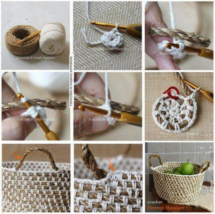 diy crochet rope basket Craft night Pinterest