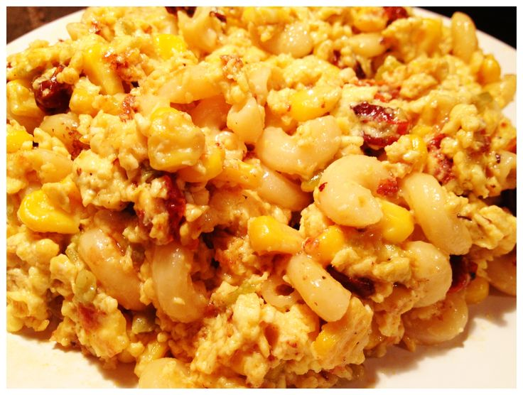 southwest Mac and Cheese Scrambled Eggs (w/ sundried cherry tomatoes ...