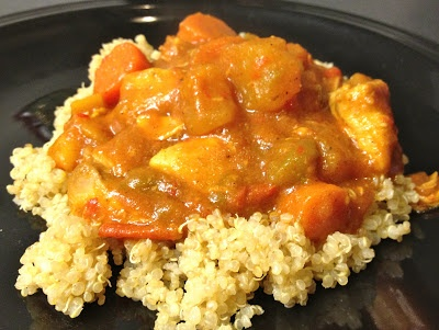 Slow Cooker Coconut Chicken Curry over Quinoa. Loaded with vegetables!