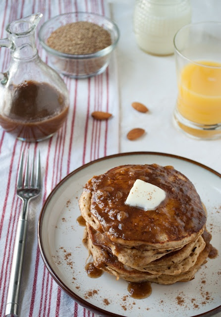 Nutty whole grain pancakes with hints of almond and vanilla. Top it ...