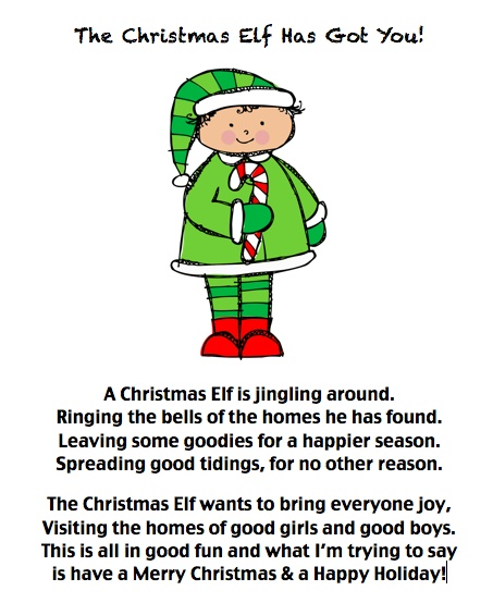 "Revised Elf poem for ""elfing"". We like to deliver cookies to people ..."