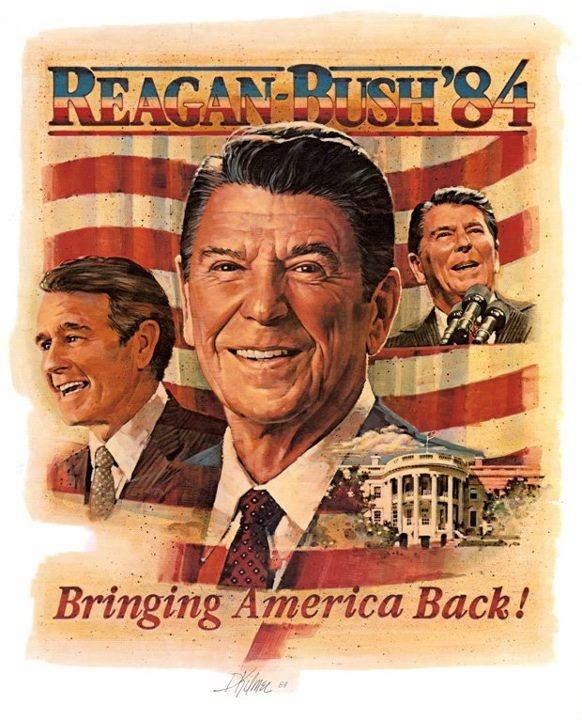 Afiche Campaña presidencial 1984. Reelección Ronald Reagan. #USA