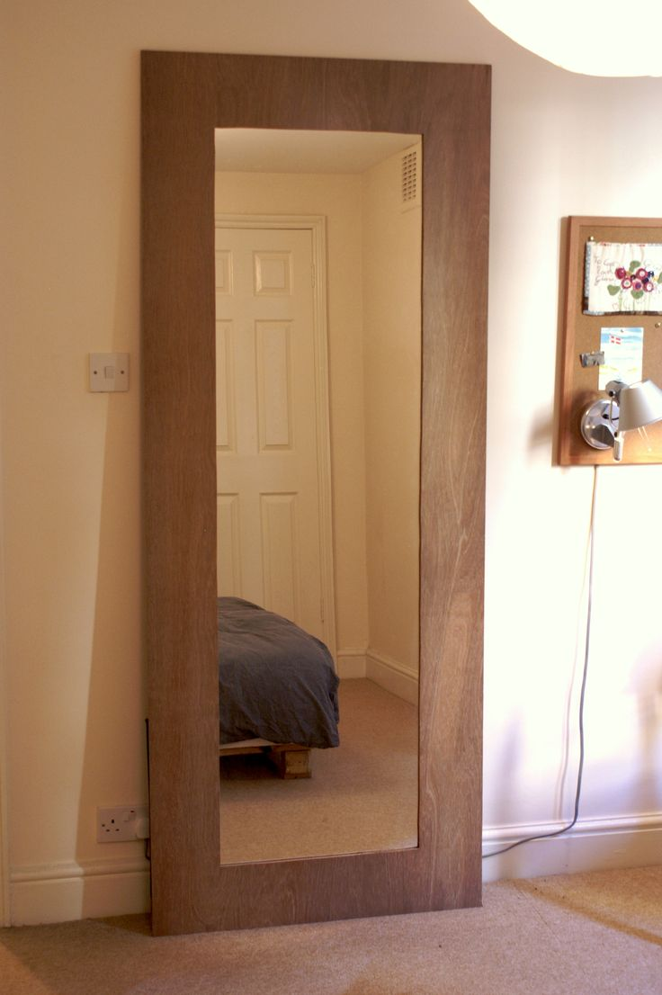 Full-length DIY floor mirror from sheets of plywood Covered with ...