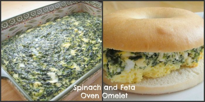 Spinach and Feta Oven Omelet Breakfast Bagel Sandwich | Recipe