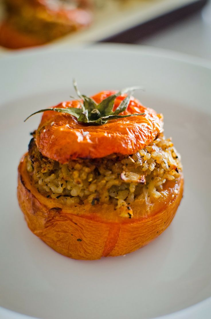 Roasted Basil Brown Rice-Stuffed Tomatoes
