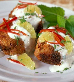 Crispy Bean Cakes with Chili Lime Yoghurt Sauce