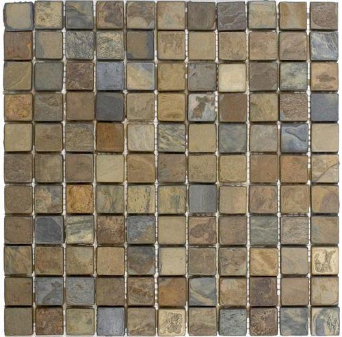Rustic Tumbled Slate Mosaic Floor Or Wall Tile 1 X 1 At Menards