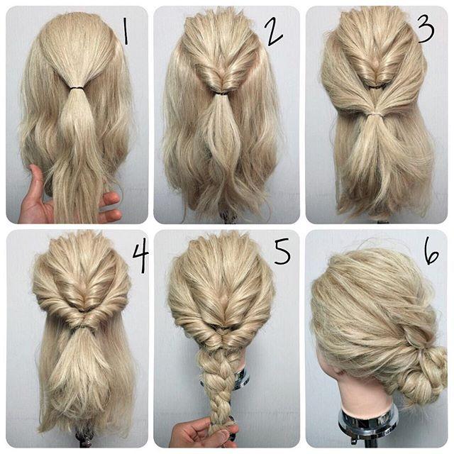 Легкая прическа на средние волосы в домашних