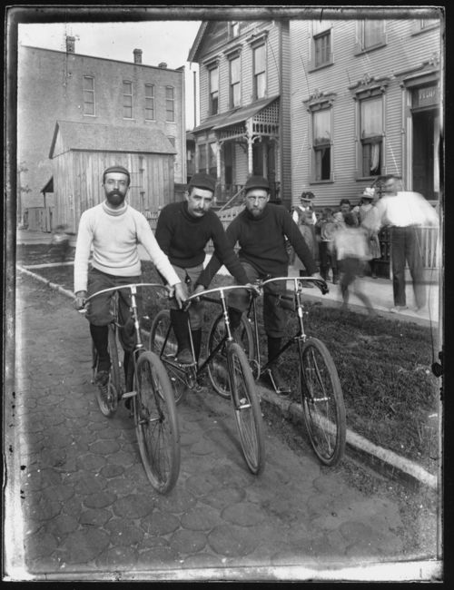 Three men on bicycles, ca. 1895, photographer unknown