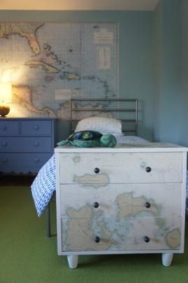 Vote for your favorite finalist in the Kid's Room Contest: This room for a 6-year-old has a subtle nautical theme, including a decoupaged chest used for toy storage. http://wapo.st/QaLuAc