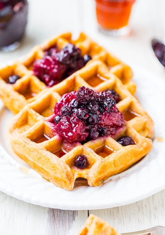 Easy Buttermilk Waffles with Mixed Berry & Lemon Preserves - As fast ...