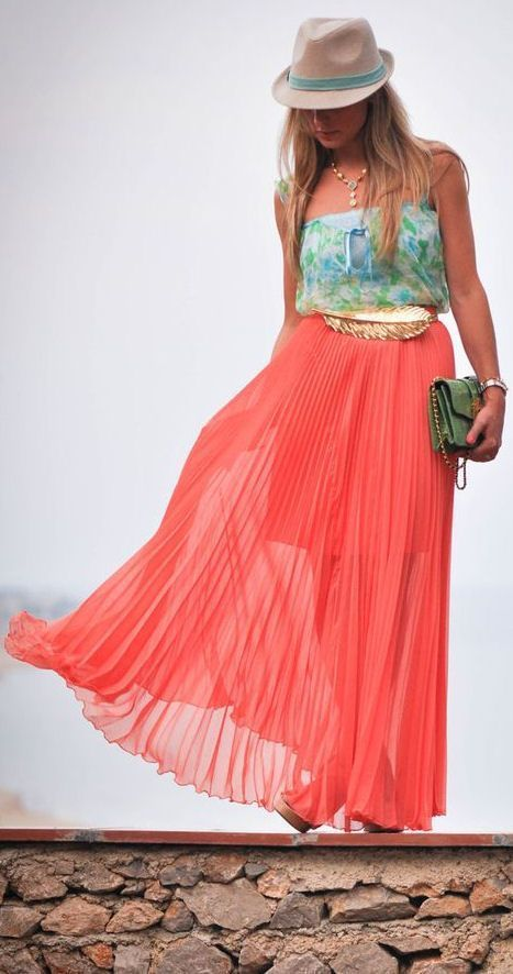 coral pleated maxi skirt swagg