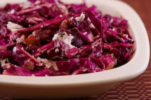 Warm Red Cabbage Salad w/ Bacon and Goat Cheese... I will use a little ...