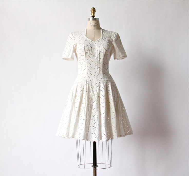 50s white eyelet dress cotton floral embroidered wedding for White cotton eyelet wedding dress