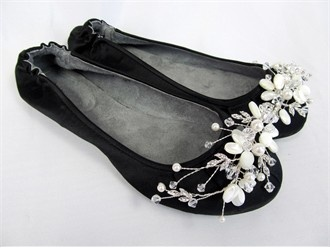$180 Custom Ballet Flats with Shell and Pearl Brooches by Kristie Ann Couture