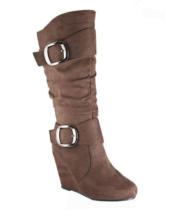 brown slouch buckle wedge boot